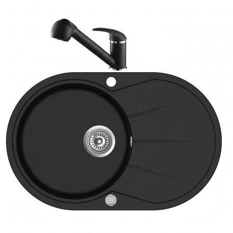 Pachet chiuveta cu baterie AQUASANITA Clarus-Rondo negru